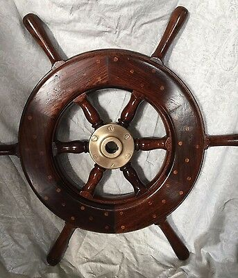 Solid Wood and Brass Ship's Wheel 6 Spokes, original finish Good condition