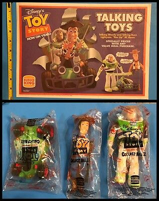 Burger King 1996 Disney's Toy Story advertisement placemat & 3 Toy's