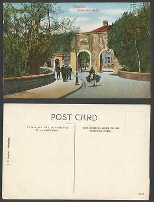Gibraltar Old Colour Postcard Southport South Port Gates, Donkey Rider & Street
