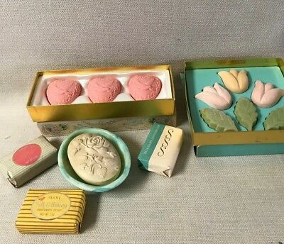 Lot of 6 Vintage Avon  Guest Soaps, Face Soap and Soap Spring Tulips