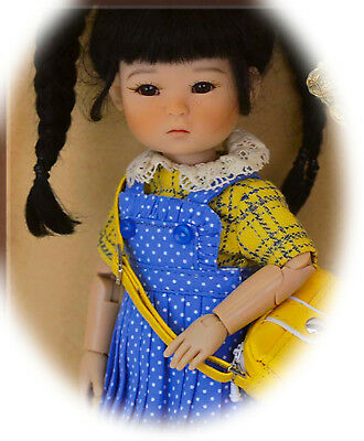 "Ten Ping Spring Going To School !  Darling Jointed 8"" Doll   Ruby Red"