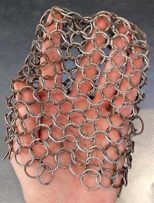 Vintage antique chain mail links pot scrubber for cast iron skillet kitchen tool