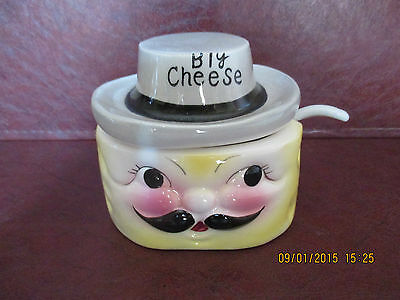 "VTG  PIXIEWARE  NAPCO ""BIG CHEESE"" Cheese Condiment Jar w/ Spoon VGC"