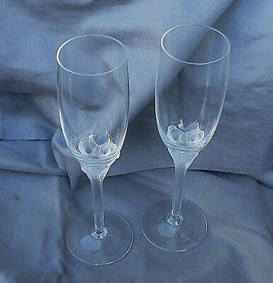 12 Lenox Ritz Paris Rose Crystal Champagne Flutes Frosted Roses On Stem Mib