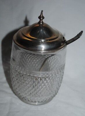 Vintage antique sterling silver and glass sugar bowl, with sterling spoon