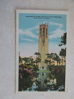 c591 Vintag postcard Singing Tower Mountain Lake Sanctuary Lake Wales Florida Fl