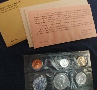1963 US Silver Mint Proof Set, 5 Coins, With COA in Original Envelope