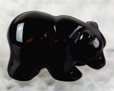 D0227 38x18x25mm Natural Obsidian Hand Carved Bear Figurine