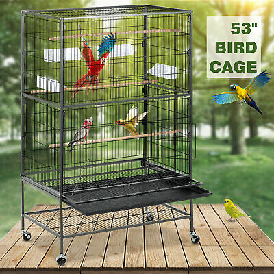 "68"" Large Bird Pet Cage Large Play Top Parrot Finch Cage Macaw Cockatoo 3 Door"