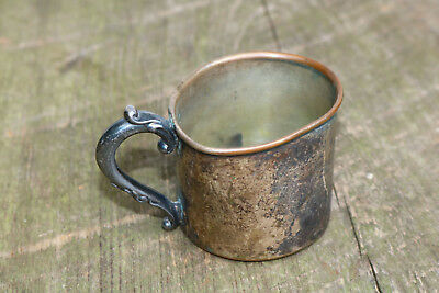 ANTIQUE Vintage design Metal Cup Copper with Plate Patina AS you see it