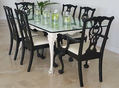 Chippendale Glass Top Dining Table with 6 Chairs