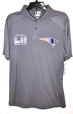 NEW ENGLAND PATRIOTS Super Bowl LII Polo Shirt Size Small 100% Polyester NFL