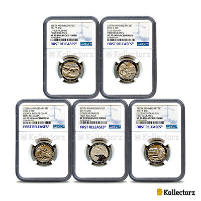 2017 225Th Anniv. 5-Coin Set 25C Ngc Sp70 Enhanced Finish First Releases Blue.