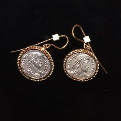 A pair of Roman silver Julian II siliqua c. 360 - 363 AD set as earrings