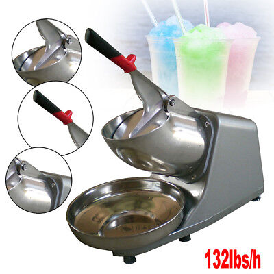 Commercial Electric Snow Cone Maker Shaver Stainless Steel Blade Ice Crusher USA