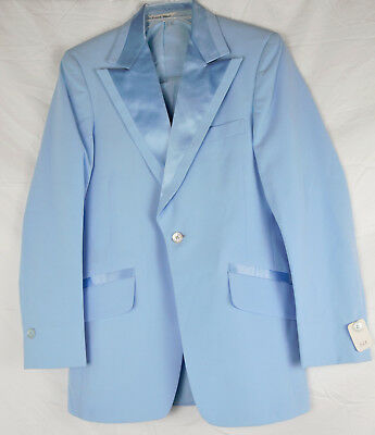 Vintage 70s Mens Powder Blue Polyester Tux Tuxedo Jacket 36 R Lord West