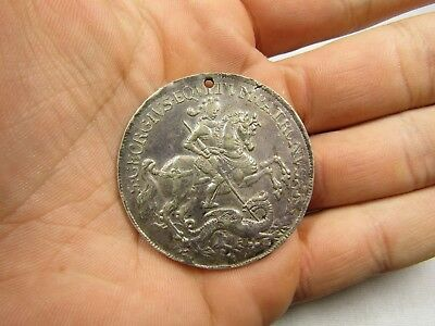 SILVER MEDALLION Saint George FIGHTING A DRAGON VERY OLD