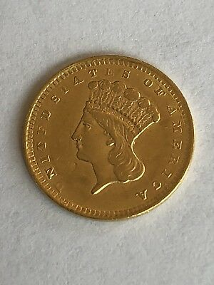 1856 $1 Indian Head Princess Gold Coin Gem PQ