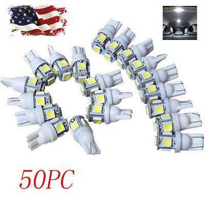 50PC T10 5050 5-SMD  LED Car Light Wedge Lamp Bulb Super Bright DC 12V White USA