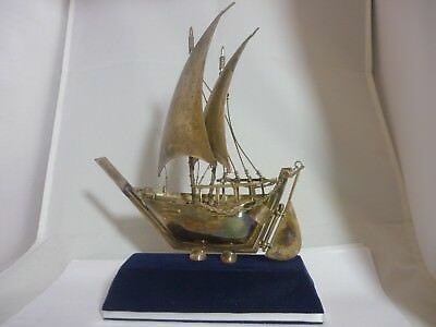 Stunning Very Large Heavy Vintage Sterling Silver Sailing Boat Ship Statue