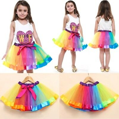High Quality Ladies Girls Kids Rainbow Tutu Skirt Fancy Gifts Dress Up 2 Layer