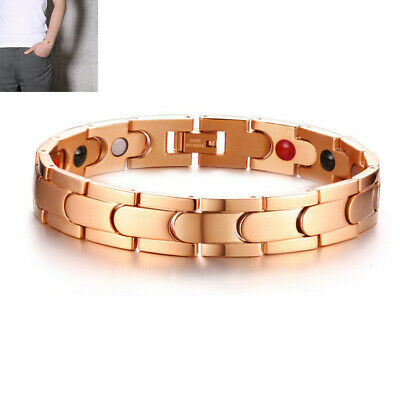 Rose Gold Men's Health Care Magnet Therapy Bracelet Energy Arthritis Pain Relief