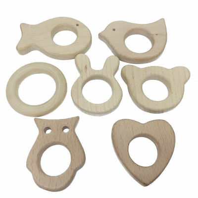 1PC Wooden Animal Bird Ring Baby Handmade Natural Shower Gift Teether