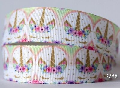 1M X 22mm Grosgrain Ribbon Craft DIY Cake Decorations Hair Bows - Unicorn Round