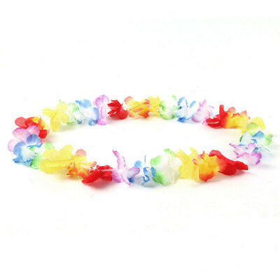 50X Lei Flower  Hawaiian Garlands Necklace Tropical Beach Party Fancy Dress UK