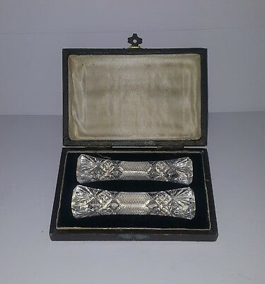 Pair of Antique Cut Crystal Knife Rests With Original Box