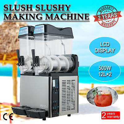 2 x 12L 500W Slushy Machine Slush Making Machine Frozen Drink Smoothie Maker.