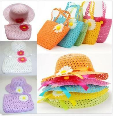 Children Lovely Girls Set Hot Baby Kids Cap And Handbag Straw Sun Hat Flower