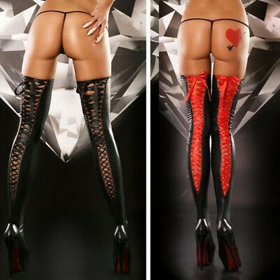 Plus Size Sexy Comfortable 1 Pair Lace Leather Stockings Thigh-high Women