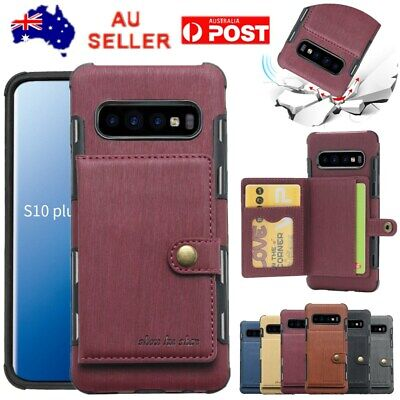 For Samsung S10e S10 Plus S9 Card Slot Shockproof Wallet Card Holder Case Cover