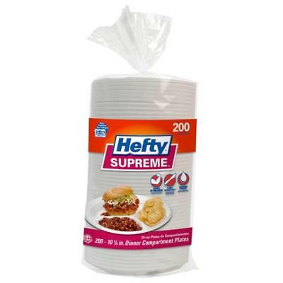 200 Ct Disposable Plates Soak-Proof Hefty Supreme 3-Section Foam Food Plate