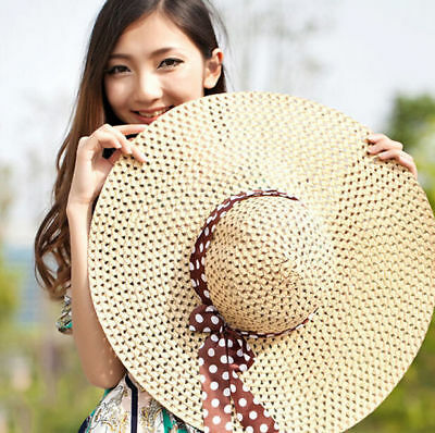 Fold Summer Sun Derby Hot Straw Hat Cap Lady Floppy Wide Brim Beach Hat Women