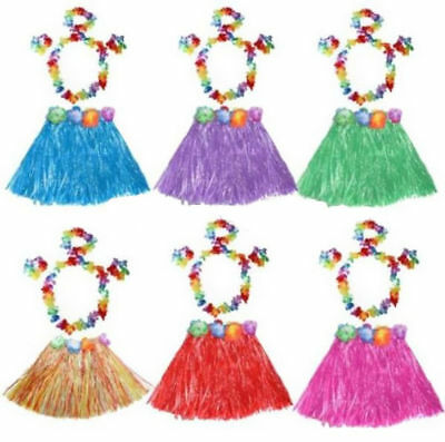 5 Piece Set Flower Wristband Costume Kids Hawaiian Lei Grass Skirt Garland Hula