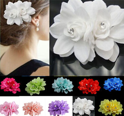 Chic 10 color Hair Flower Clip Pin Bridal Wedding Prom Party Gift for Women