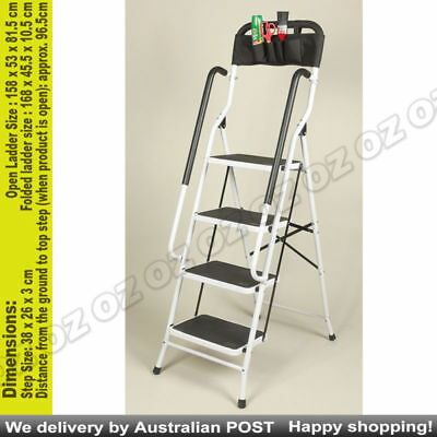 Step up more safely & securely fold out steel ladder with oversized steps