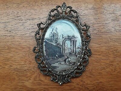 vintage Italian brass ornate frame silk picture wall hanging
