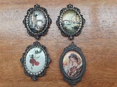 4 Vintage Italian Brass frames with Silk Pictures