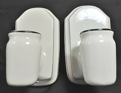 2 Vtg 30's Efcolite Durock Porcelain Deco Bathroom Sconce Light Fixtures Plug