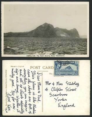 Gibraltar The Rock Showing Water Catchments KG6. 3d Europa Point Old RP Postcard