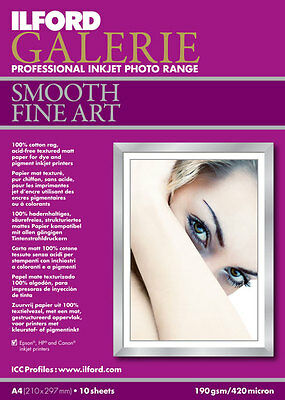 A4 Ilford Galerie Smooth Fine Art 10 sheets 190gsm Professional Photo Paper