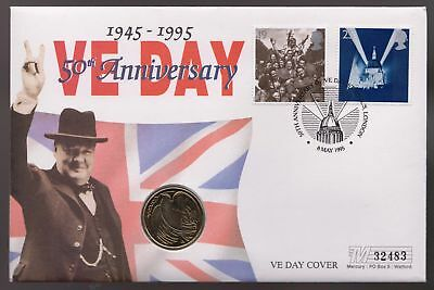 GB 1975 Anniversary of VE day Commemorative Cover with £2 coin - (69)