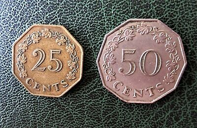 Malta, 25 Cent 1975 (Messing) + 50 Cent 1972 (Kupfer/NIckel)