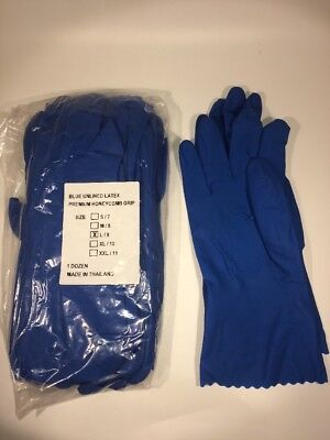 Industrial Latex Rubber Gloves  Large 12 Pairs  Reusable