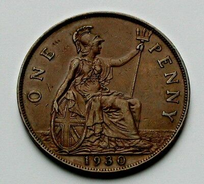 1930 UK (Great Britain) George V Coin - One Penny (1d) - brown