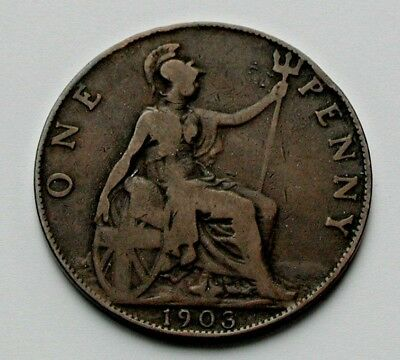 1903 UK (British) Edward VII Coin - One Penny (1d) - brown