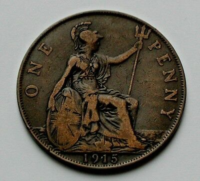 1915 UK (Great Britain) George V Coin - One Penny (1d) -